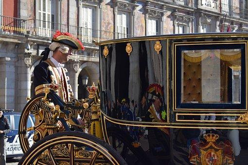 Cart, Gold, Uniform, Lackey, Madrid, Parade