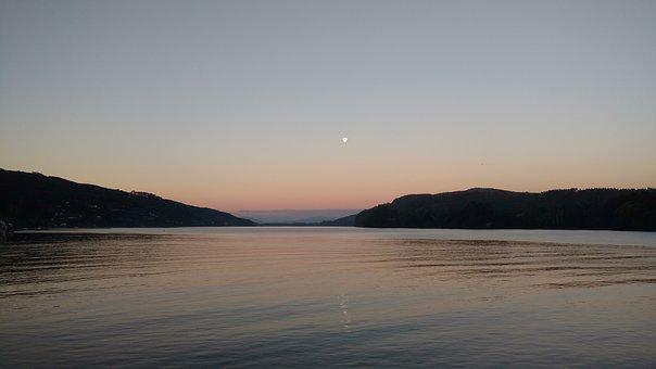 Valdivia, Chile, Moon, Sky, Lake