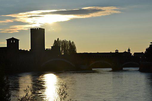 Italy, Verona, Sunset, Landscape, Sun, Reflection