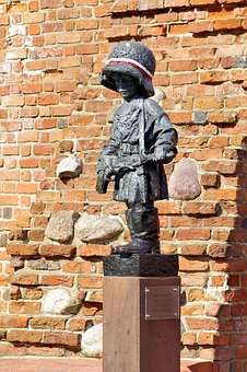 Rebel, Small, Monument, Warsaw, The War, Rifle, Child