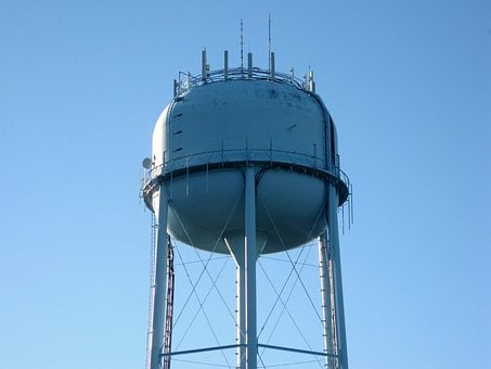 Water Tower, Blue, Water, Tower, Sky, Architecture