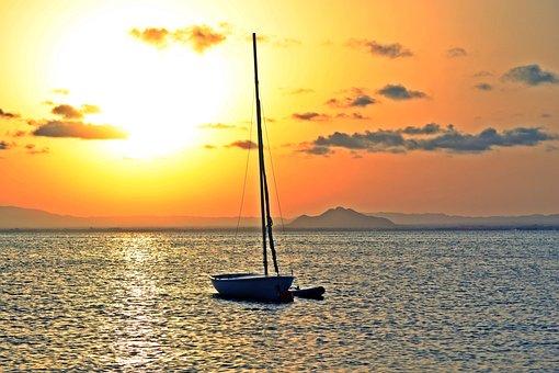Sunset, Sea, Less, Lower Mar, Beach, Sun, Sky, Nature