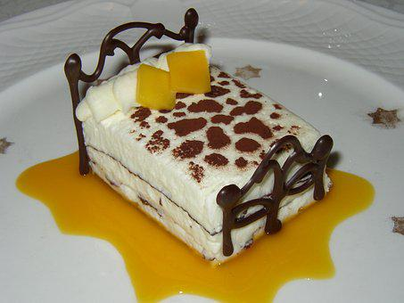Dessert, White Chocolate Mousse, Mango, Sweet, Cake