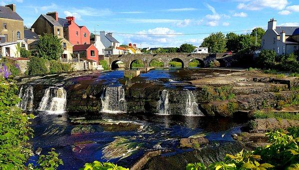 Bridge, Water, Waterfall, Attraction, Construction