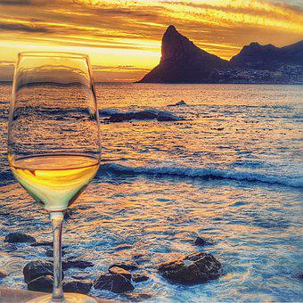 Hout Bay, Chapmans Peak, Sunset, Wine, Glass, Sea, Sky
