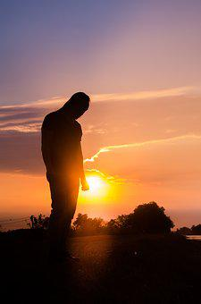 Reverse Sun, People, Lonely, Alone, Light, Sky, Sunset