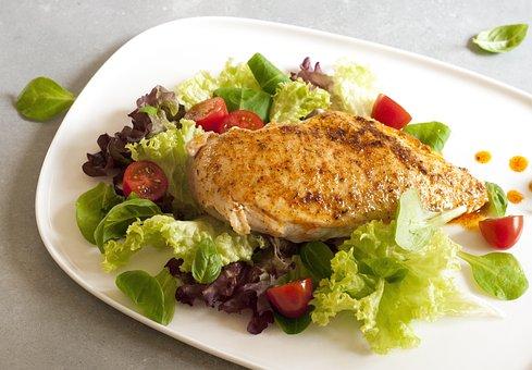 Fillet Poultry, Cutlet, Meal, Food, Lettuce, Eating
