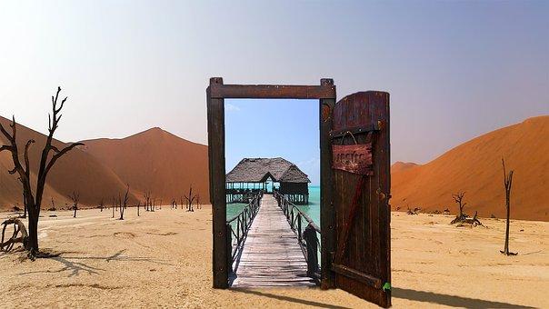 Oasis, Desert, Door, Jesus, Open, Glass, Heat, Sand