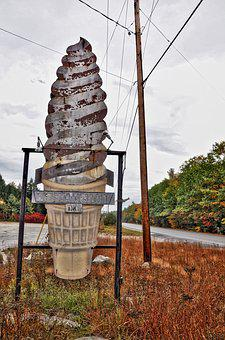 Vintage Ice Cream Sign, Abandoned, Rusty, Roadside, Old
