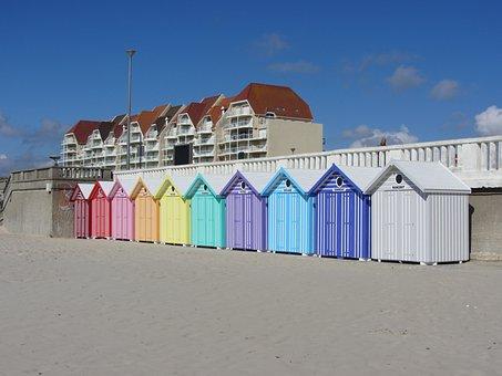 Sea, Place, Stella Beach, France, Beach Cabins