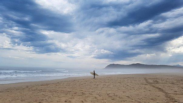 Sea, Surf, Beach, Clouds, Surfboard, Summer