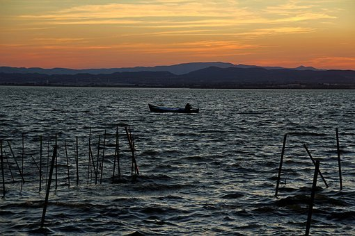 Boat, Sunset, Beach, Sun, Sea, Waves, Dusk, Sunlight