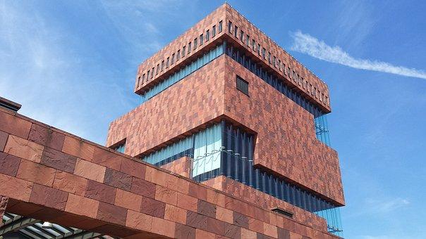 Mas, Museum, Antwerp, Architecture, Belgium, Facades