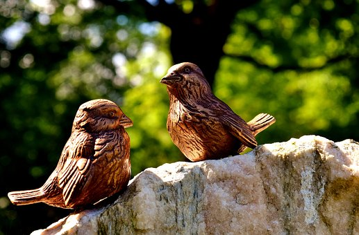 Birdie, Bronze, Figures, Cute, Sit