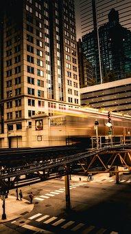 Chicago, Illinois, L Train, Platform, Buildings