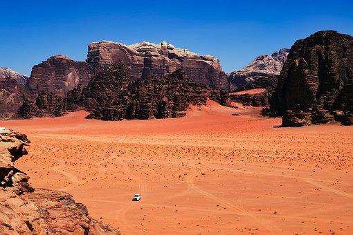 Jordan, Desert, Dry, Hot, Pickup Truck, Landscape