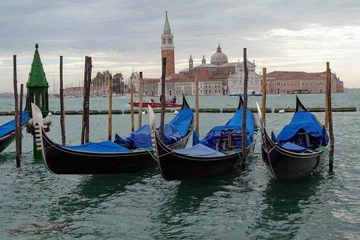 Venice, Gondola, Channel, Italy, Boats, Ile, Lagoon