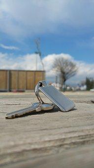 Key, Keychain, Metal, Wood