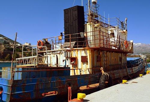 Ship, Fishing Vessel, Lifebelt, Old, Cutter, Seafaring