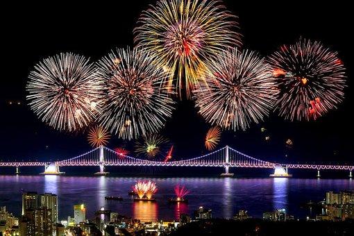 Fireworks, Eve, South Korea, New Year Party Korean