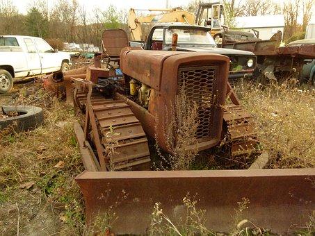 Scrap, Metal, Recycling, Truck, Tractor, Rust, Old