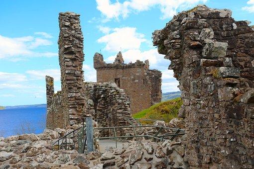 Urquhart Castle, Loch Ness, Scotland, Tower, Ruins
