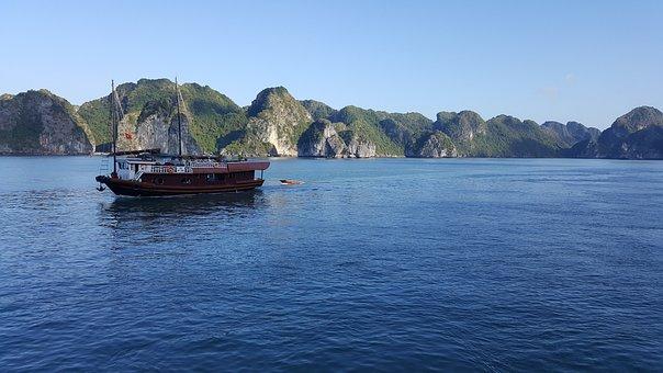 Halong Bay, Vietnam, Asia, Sea, Boat, Landscape, Zen