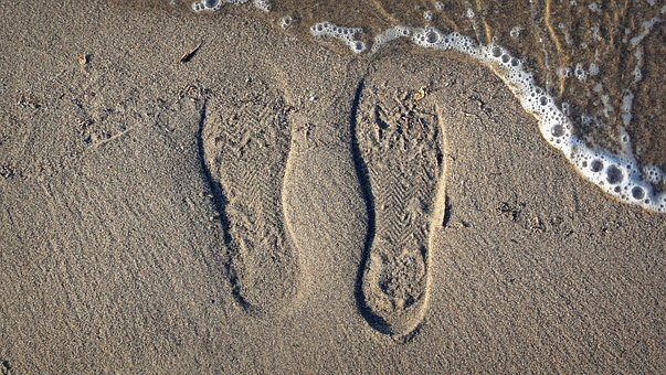 Sand, Beach, Print Shoes, Water, Lake, The Waves, Sole