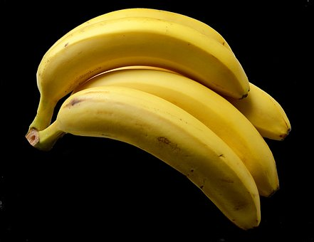 Bananas, Yellow, Frisch, Black Background