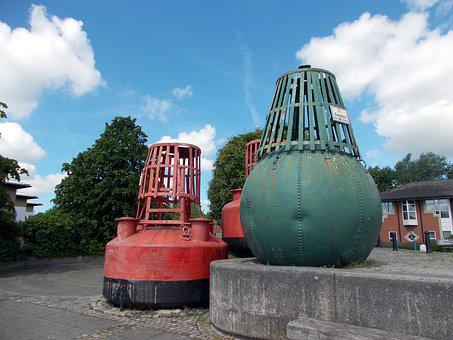 Old, Channel, Buoys, Preston, Dock