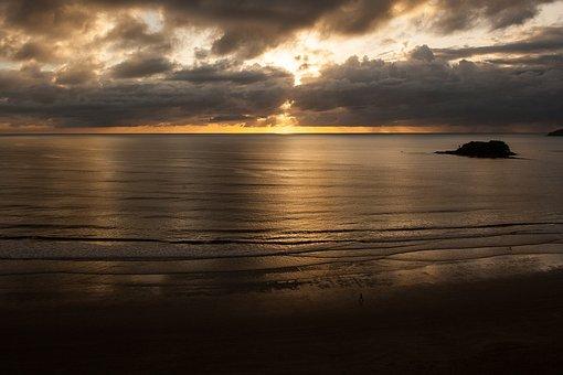 Sol, Landscape, Nature, Sunset, Eventide, Mar, Beach