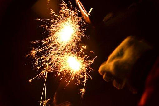 Sparkler, Light, New Year's Eve, Shower Of Sparks, Mood