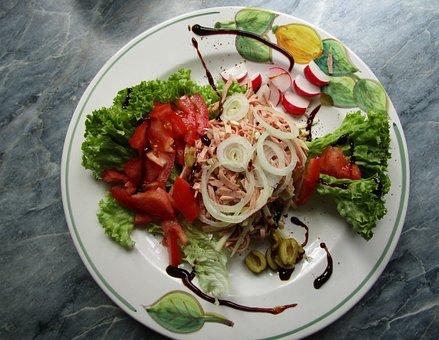 Eat, Salad, Sausage Salad, Meal, Garden Party