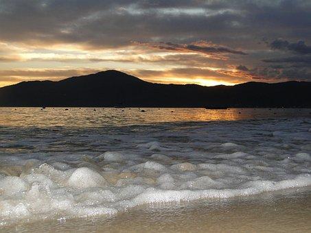 Foam, Waves, Mar, Ocean, Beach, Sunset, Nature, Brazil