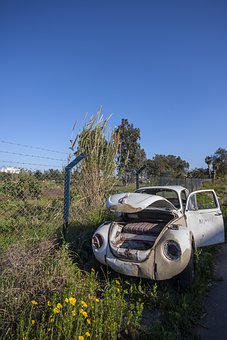 Car, Old, Scrap, Rusty, Abandoned, Deserted, Field