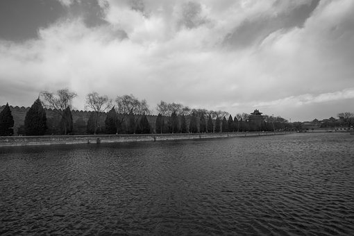 The National Palace Museum, Moat, Partly Cloudy