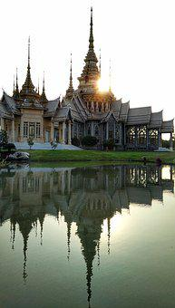 Temple, Buddhist, Sunset, Reflection, Korat, Thailand
