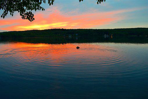 Lake, Sunset, Ripple, Colors, Sky, Clouds, Water