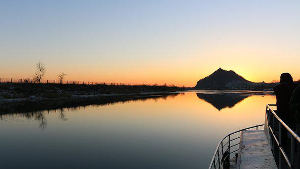 Sunset, Yalu River, North Korea