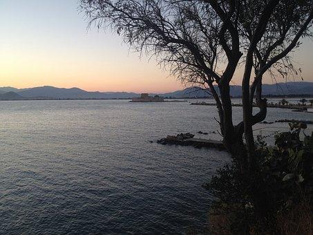 Nafplion, Greece, See, Sunset, Peloponnese, Bourtzi
