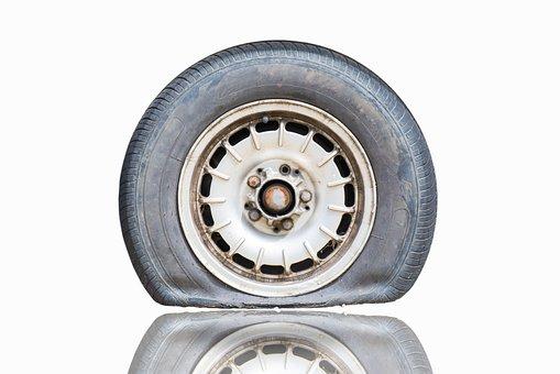 Flat, Tire, Vehicle, Wear, Street, Wheel, Old