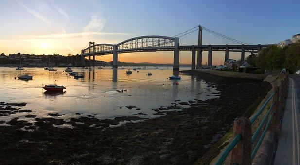 Plymouth, Tamar Bridge, Bridge, Cornwall, Uk, Water
