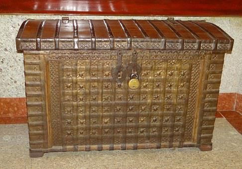 Chest, Wooden, Antique, Wood, Box, Treasure, Vintage