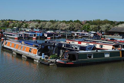 Barges, Marina, Water, Ship, Transportation, Vessel