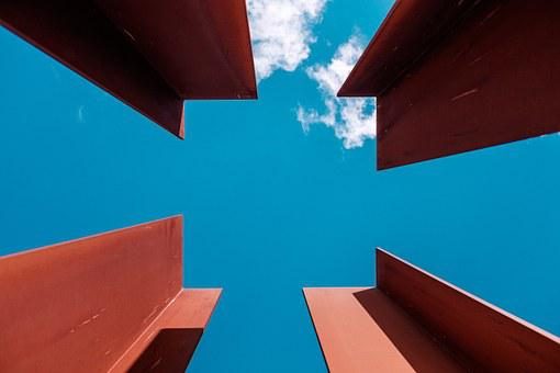 Beams, Architecture, Steel, Metal, Sky, Clouds, Blue