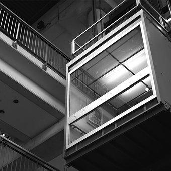 Elevator, Building, Architecture, Black And White