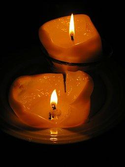 Candles, Melting, Burning, Dark, Light, Reflection