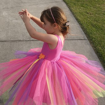 Little Girl, Twirling, Dancing, Pink, Child, Colorful