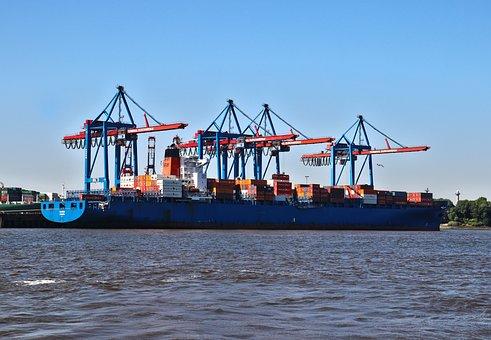 Container Ship, Container, Ship, Cranes, Cargo