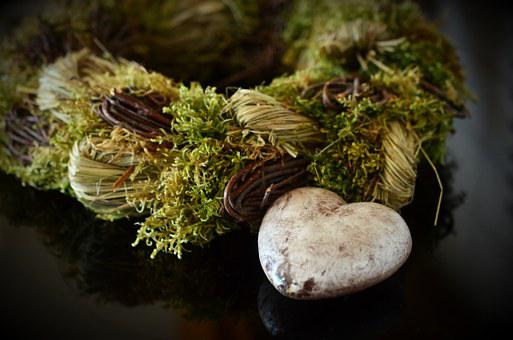 Heart, Wreath, Mourning, Decoration, Autumn